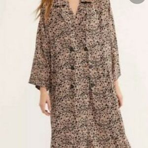 Free People Leopard Print Shirt Dress New Size XS